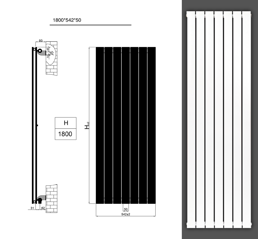 design paneelheizk rper flachheizk rper badheizk rper mittelanschluss 1800 x 542 ebay. Black Bedroom Furniture Sets. Home Design Ideas