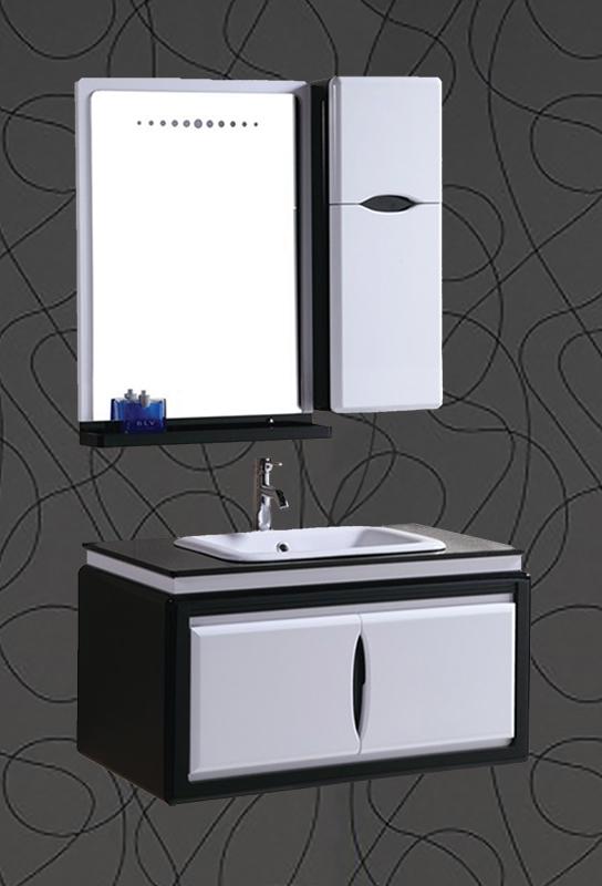 badm bel bad set waschtisch badezimmer spiegel unterschrank waschbecken schwarz ebay. Black Bedroom Furniture Sets. Home Design Ideas