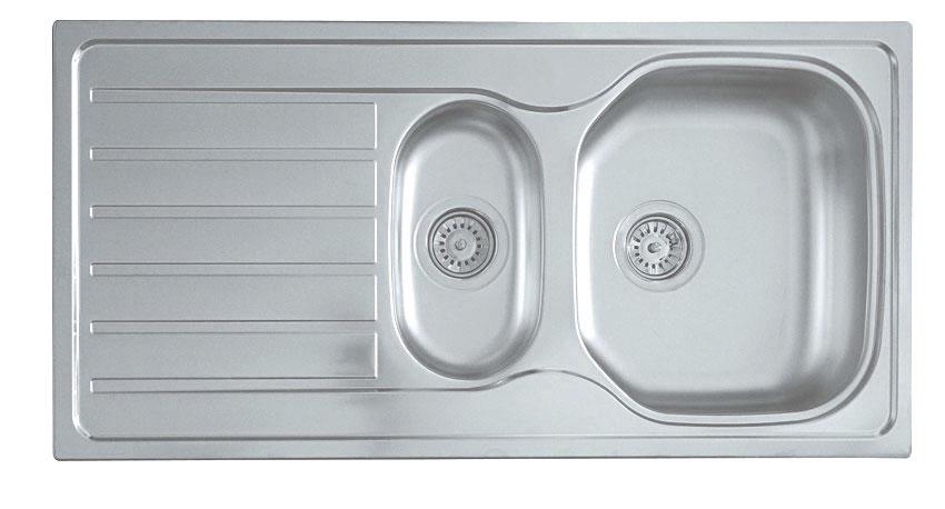Vier encastr acier inox 100x50 cm 1 5 lavabo en for Lavabo de cuisine en inox